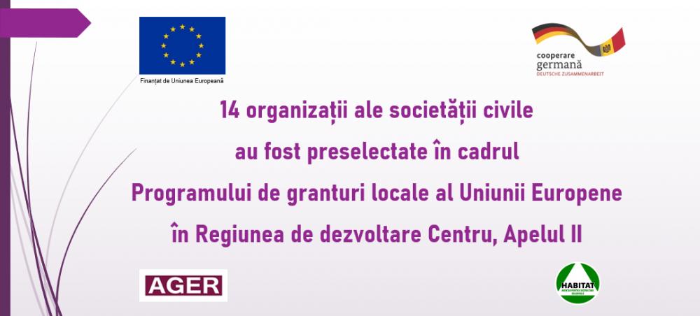 UE // 14 organizații ale societății civile au fost preselectate ca urmare a Apelului II de propuneri de proiecte în cadrul Programului de granturi locale al Uniunii Europene (EU) în Regiunea de dezvoltare Centru